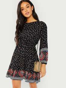 Paisley Print Blouson Sleeve Ruffle Hem Dress