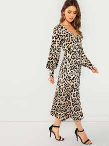 Plunging Neck Leopard Print Dress