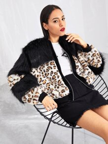 Zip Up Leopard Pattern Faux Fur Coat