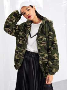 Camo Teddy Hooded Teddy Jacket