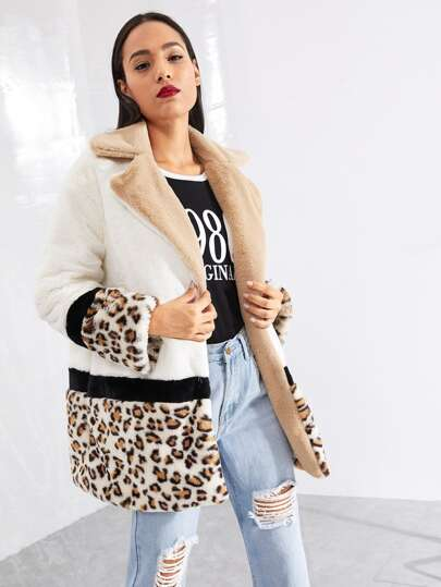 Cut and Sew Leopard Panel Faux Fur Teddy Coat
