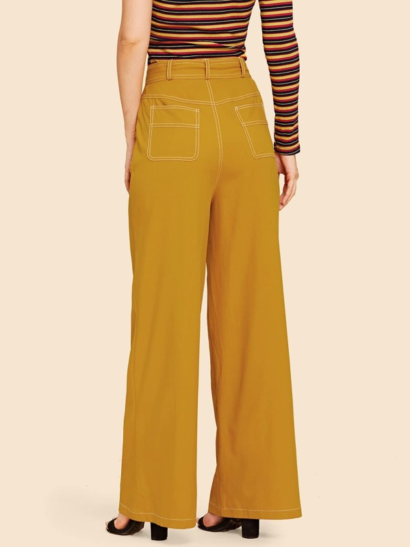 83566c1fea Tie Waist Slant Pocket Wide Leg Trousers | SHEIN UK