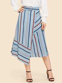Striped Print Belted Skirt