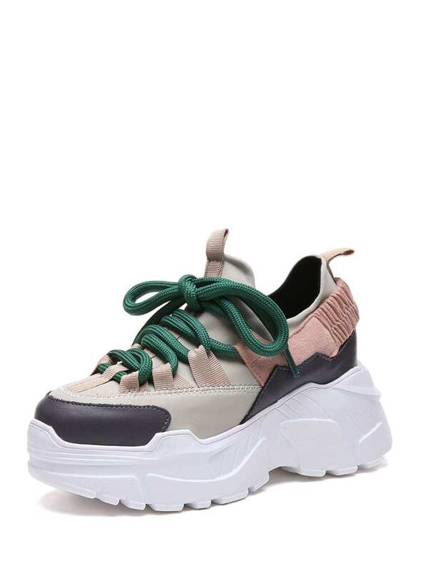 b575e2fcb Lace Up Chunky Sole Sneakers   SHEIN IN