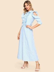Cut Out Ruffle Stripe Longline Dress