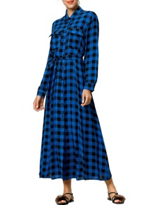 Check Plaid Tie Waist Longline Shirt Dress