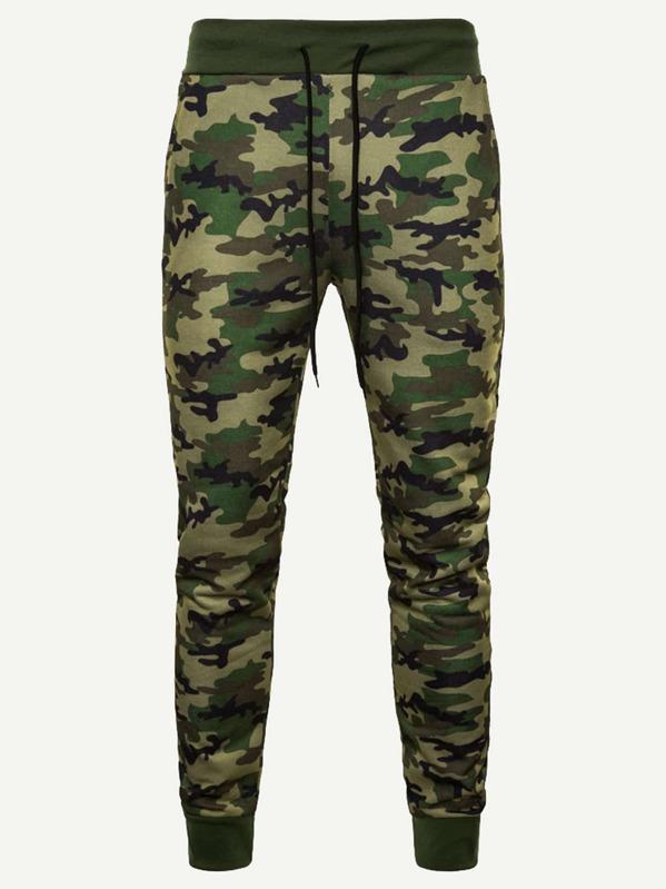 2eae0a6d7 Pantalones de hombres de camuflaje con cordón   SHEIN ES