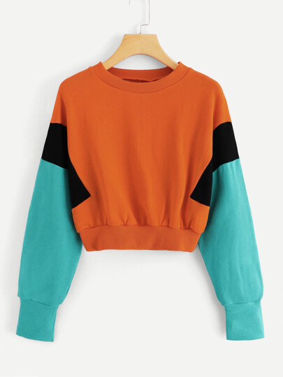 Colorblock Round Neck Sweatshirt