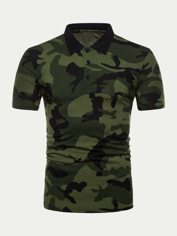 1cc1f7ad Men Camo Print Polo Shirt   SHEIN UK