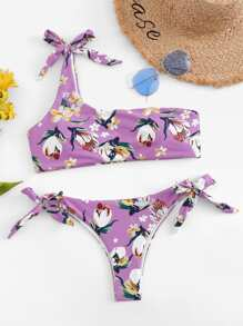 One Shoulder Top With Tie Side Floral Bikini Set