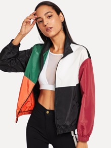 Zip Front Color Block Coat