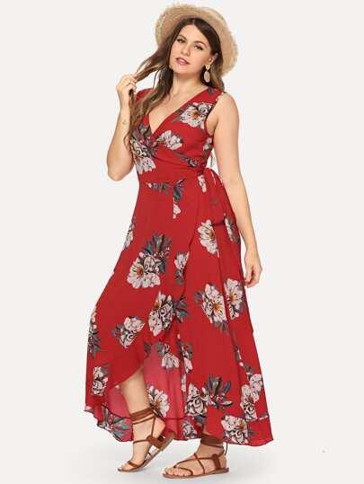 13772f13581 Grande taille Robe fleurie à bord plissé à chevauchement