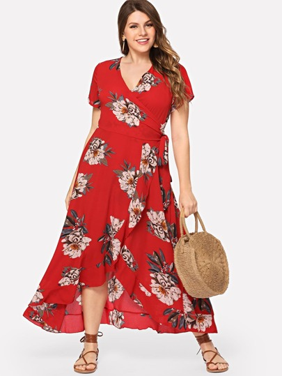 37a7154465 Plus Surplice Neck Floral Overlap Ruffle Hem Dress
