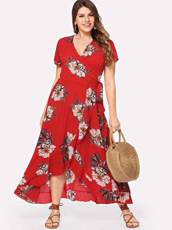 783c180ccd Plus Surplice Neck Floral Overlap Ruffle Hem Dress | SHEIN IN