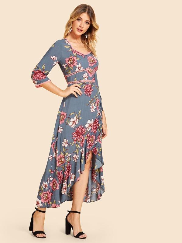 59a56581e38 Laser Cut Floral Ruffle Trim Dress