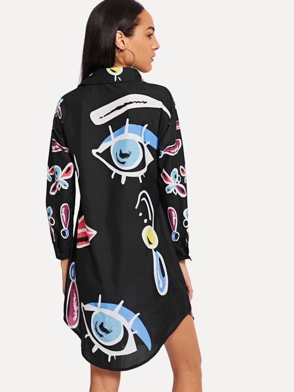 516f1c8590 Vestido camisero con dibujos abstractos