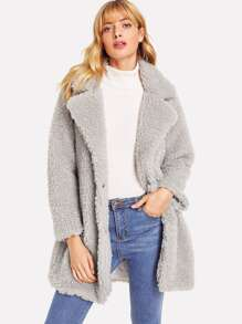 Solid Faux Fur Coat