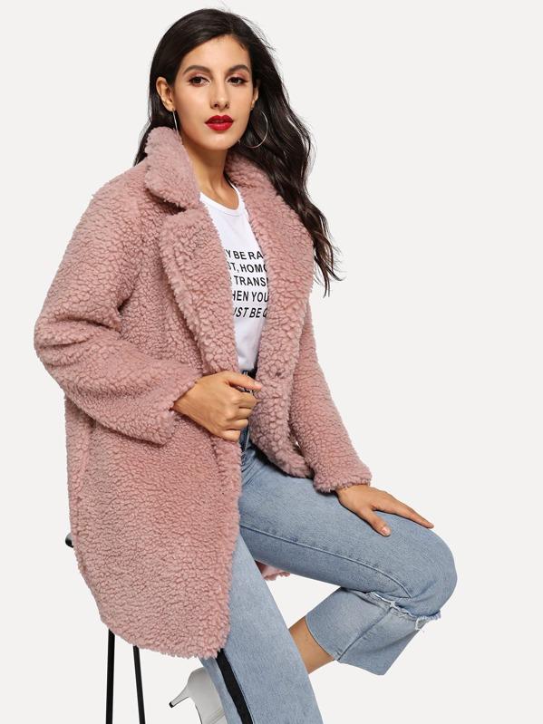 c33f1f7a8f Solid Faux Fur Teddy Coat | SHEIN