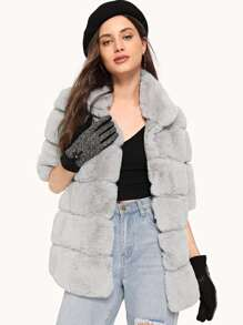 Hook and Eye Closure Faux Fur Paneled Coat