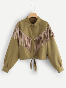 Plus Fringe Patched Knot Hem Coat