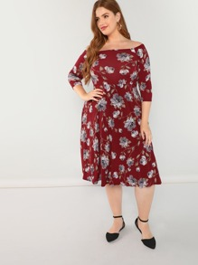 0dc06d044e98 Boat Neck Floral Midi Dress | SHEIN