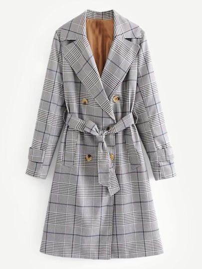 Glen Plaid Belted Trench Coat