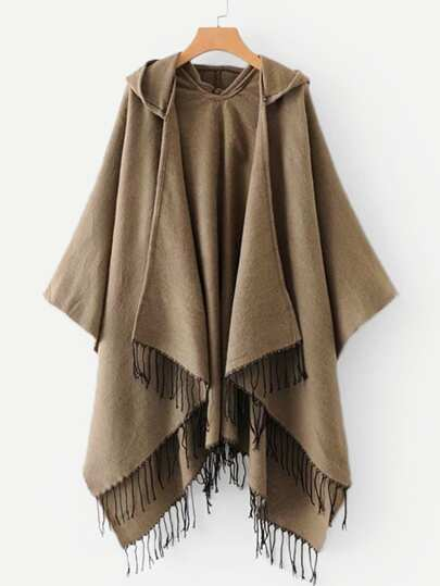 Fringe Hem Hooded Poncho Coat
