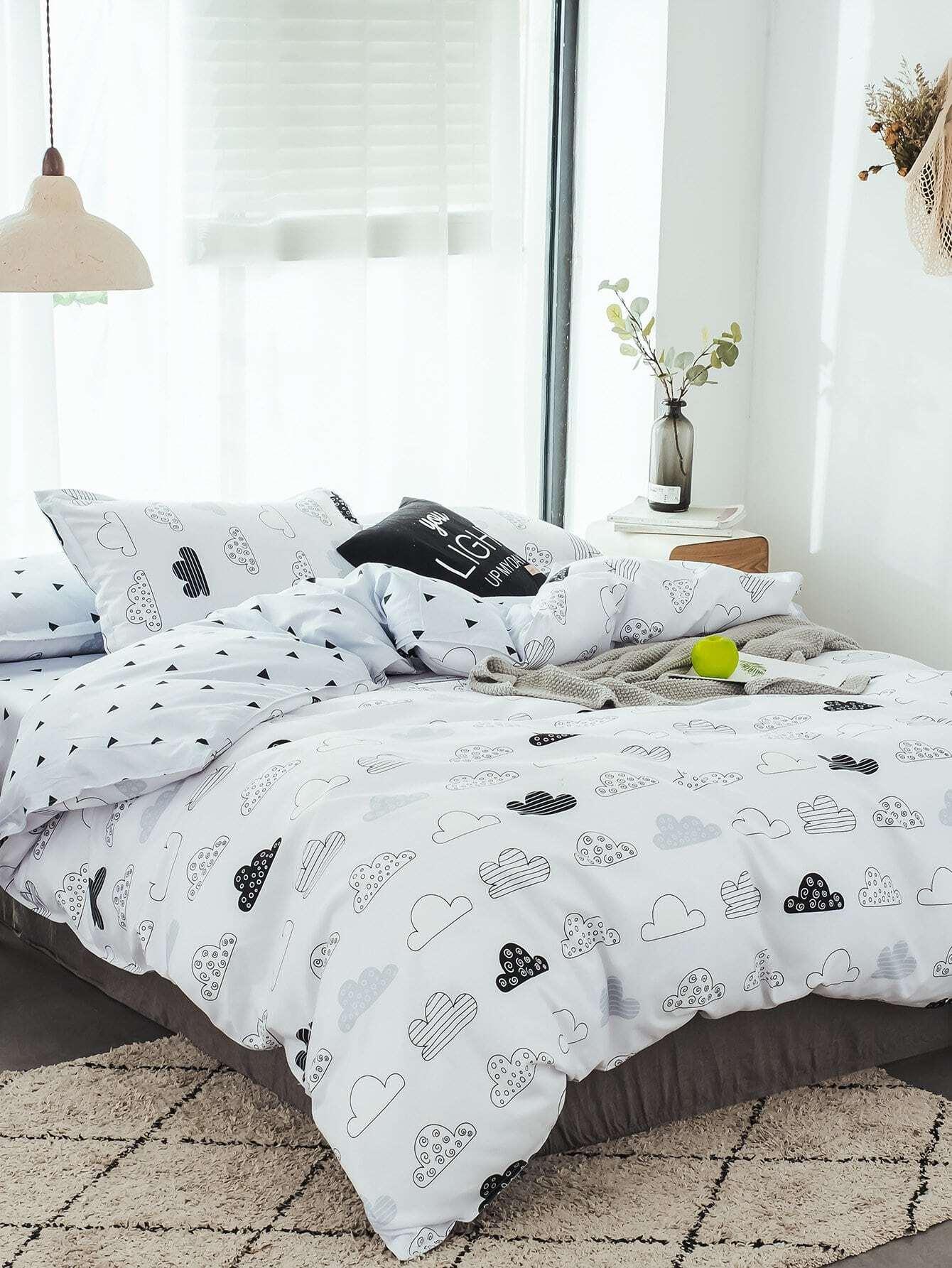 bettlaken set mit wolke und geometrischem muster german shein sheinside. Black Bedroom Furniture Sets. Home Design Ideas