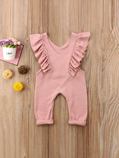 Toddler Girls Frill Trim Solid Jumpsuit