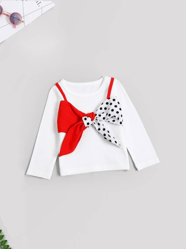 1fd0e72ca942 Toddler Girls Bow Front Tee | SHEIN UK