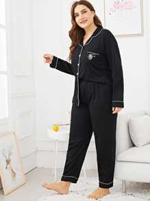 Plus Letter Embroidered Pocket Front Pajama Set