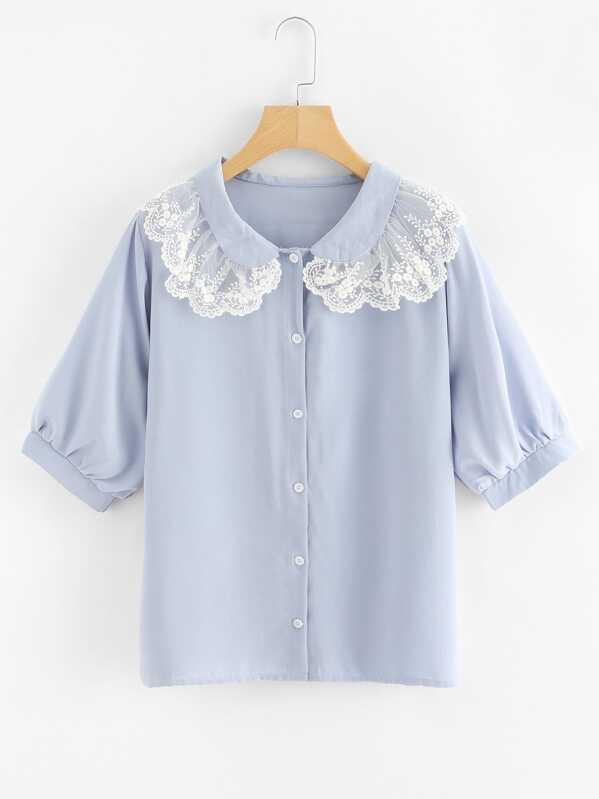 3ae49315bd Shoptagr | Contrast Embroidered Mesh Trim Shirt by Shein