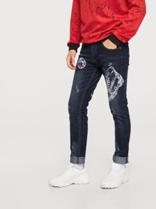 Men Patched Decoration Jeans
