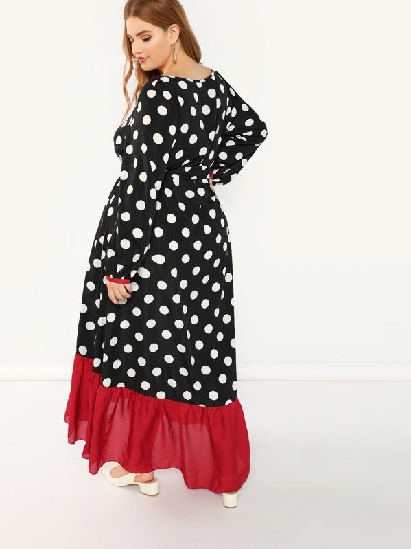 Plus Contrast Ruffle Hem Polka Dot Dress | SHEIN