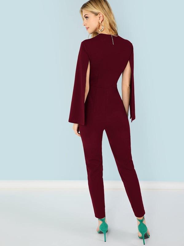 0cc613740fa Plunging Neck Cloak Sleeve Jumpsuit