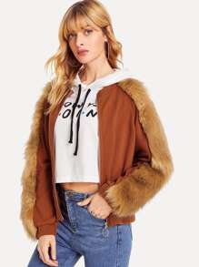 Zip Front Faux Fur Contrast Coat