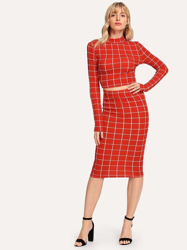 13bab7fa5 Crop Grid Top & Pencil Skirt Co-Ord | SHEIN