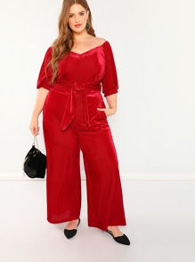 Plus Waist Belted Sweetheart Top & Pants Set