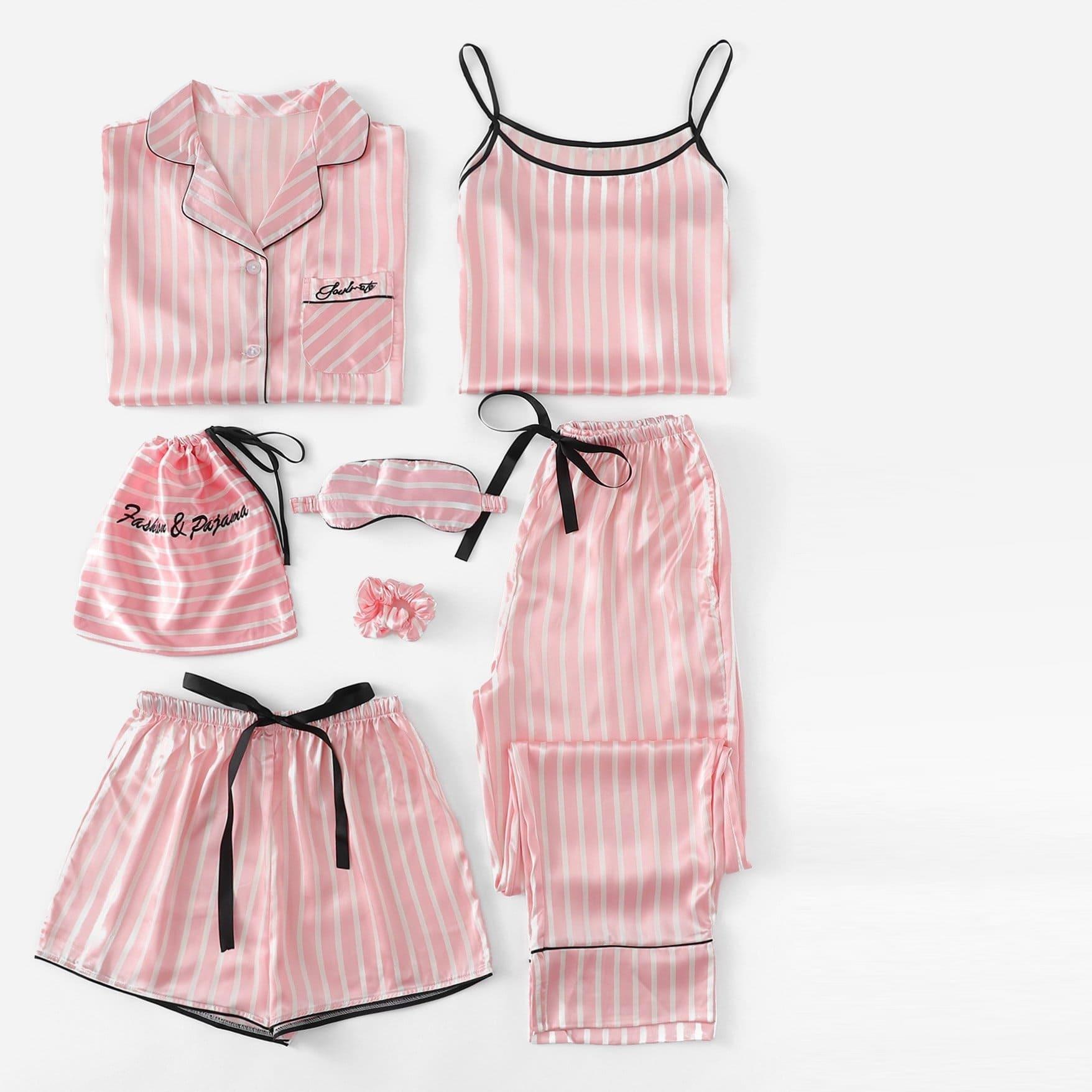 7 шт Комплект полосатой пижамы с рисунками вышитых букв и футболка