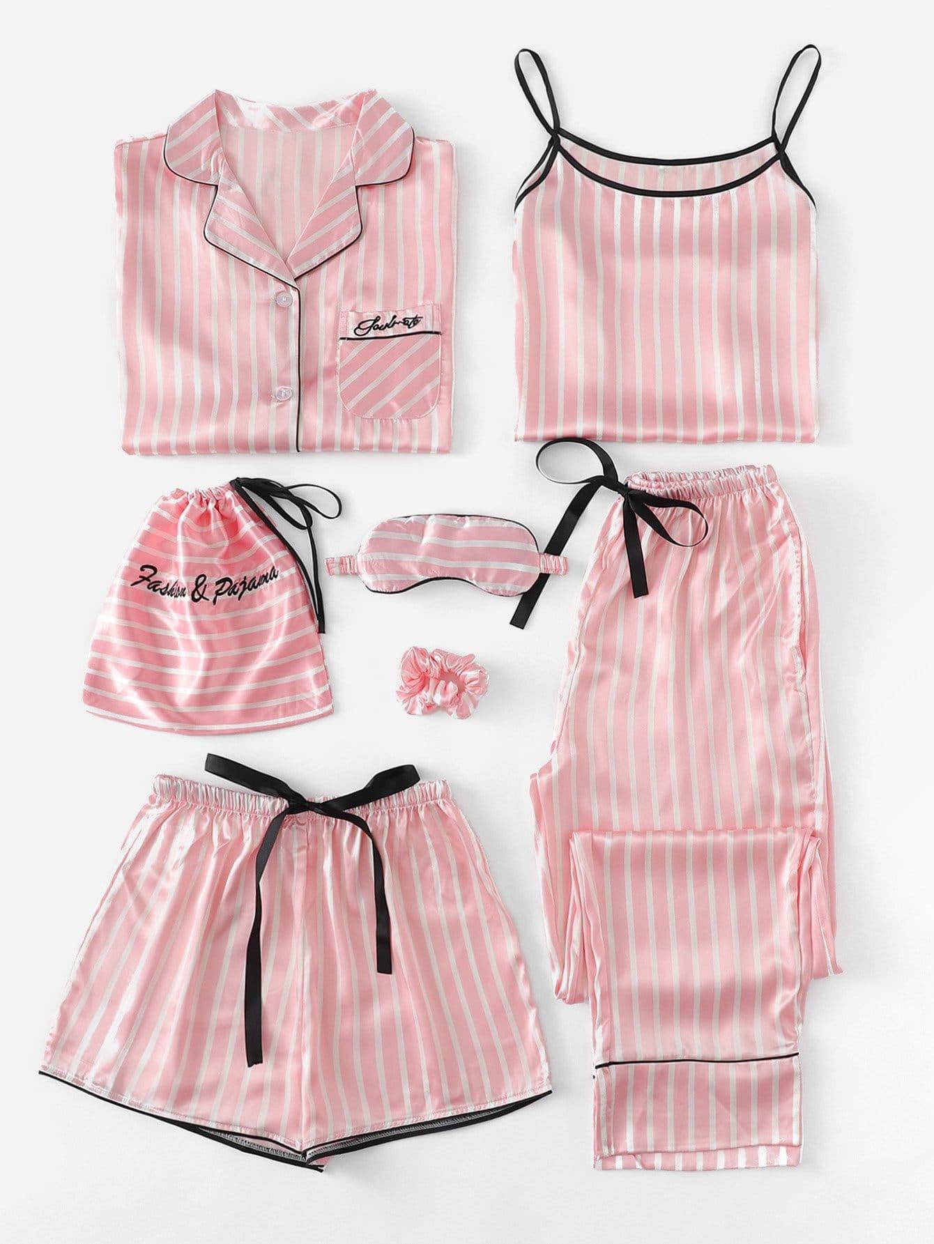 7 шт Комплект полосатой пижамы с рисунками вышитых букв и футболка thumbnail
