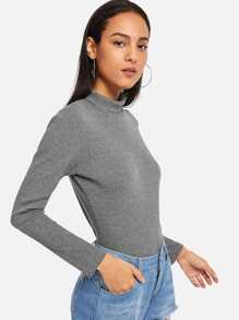 High Neck Solid Knit Bodysuit