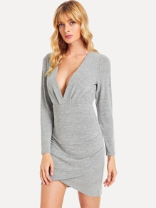 Cut Out Back Deep V Neck Solid Dress