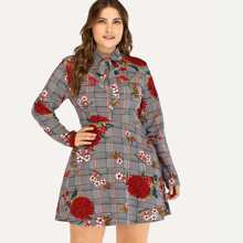 Plus Size Knot Front Floral Embroidery Dress - $16.00