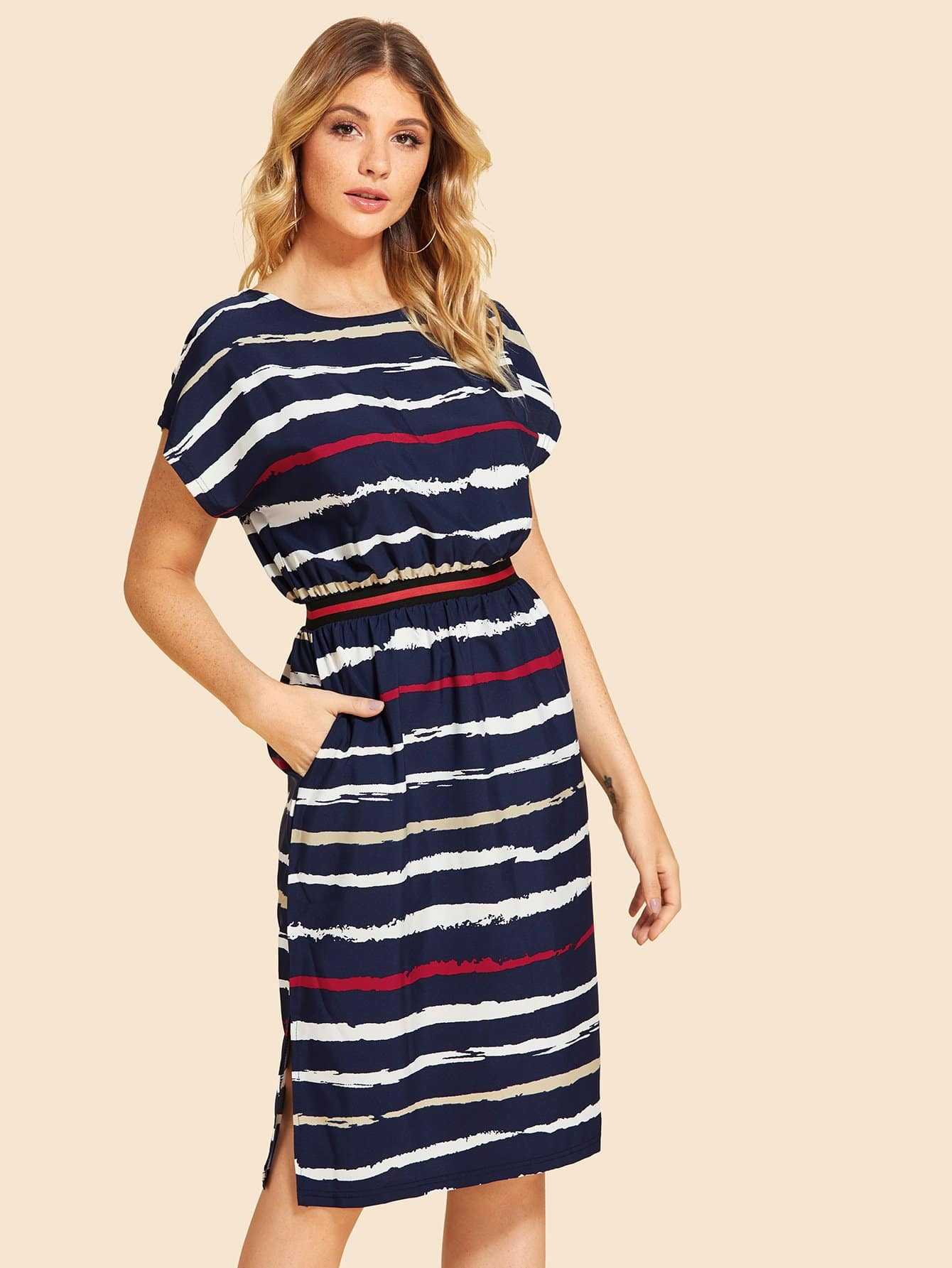 83188b993b Striped Split Dress -SheIn(Sheinside)