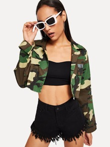Roll Up Sleeve Camouflage Jacket