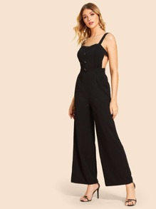 Single Breasted Backless Cami Jumpsuit