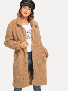 Shawl Collar Solid Teddy Outerwear