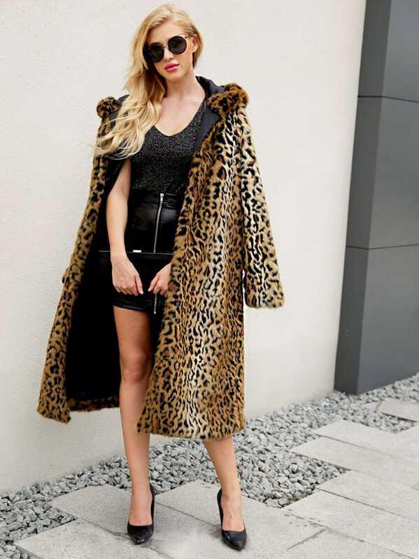 caad202b3caa Leopard Open Front Faux Fur Hooded Outerwear | SHEIN