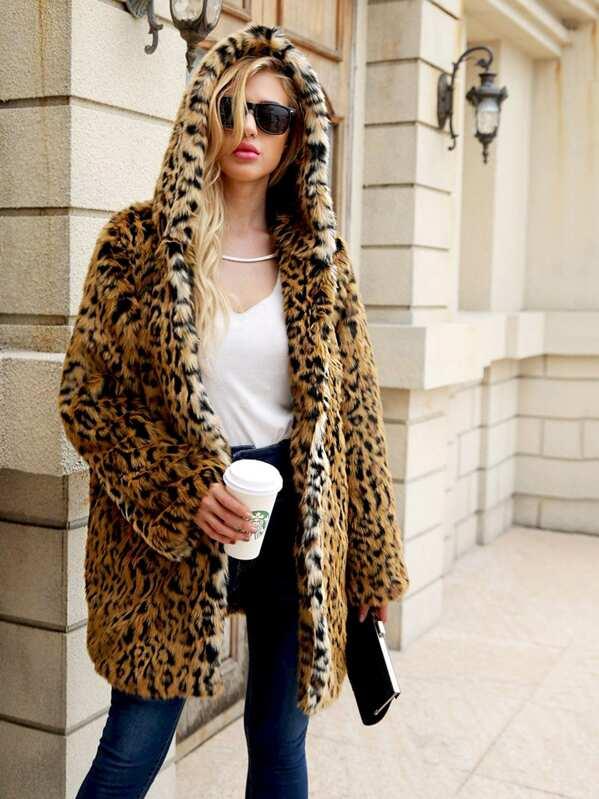 6767de8e917d Leopard Open Front Hoodie Outerwear | SHEIN UK