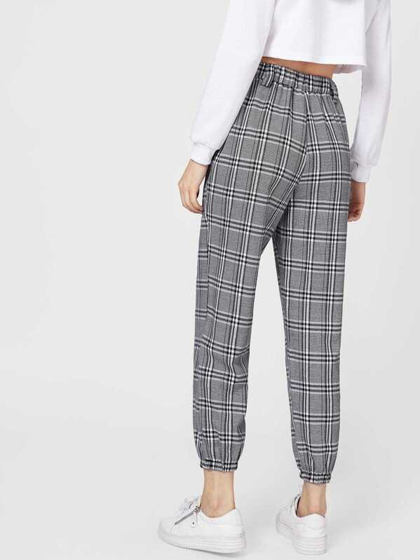 10b9e834036521 Elastic Waist Plaid Pants | SHEIN